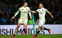 Jonny May of England celebrates with Danny Care of England after scoring a try - Mandatory by-line: Robbie Stephenson/JMP - 18/11/2017 - RUGBY - Twickenham Stadium - London, England - England v Australia - Old Mutual Wealth Series