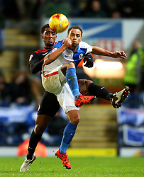 Blackbun's Elliott Bennett is closed down by Leroy Fer of Queens Park Rangers - Mandatory byline: Matt McNulty/JMP - 12/01/2016 - FOOTBALL - Ewood Park - Blackburn, England - Blackburn Rovers v QPR - SkyBet Championship