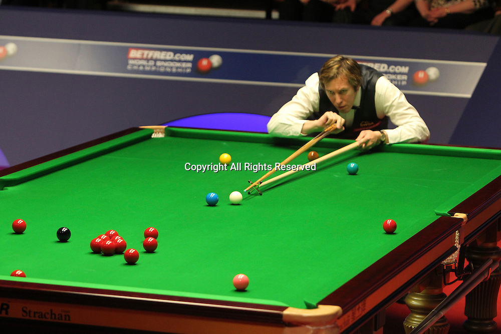 25.04.2012, Sheffield, England. Dominic Dale in action during the World Snooker Championship from the Crucible Theatre.