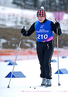 Polish athlete with intellectual disability Justyna Wasiluk  competes in Finals of Cross Country 100 meters Race Classical during 2013 Special Olympics World Winter Games PyeongChang at Cross Country Skiing Venue on February 3, 2013...South Korea, PyeongChang, February 3, 2013..Picture also available in RAW (NEF) or TIFF format on special request...For editorial use only. Any commercial or promotional use requires permission...Photo by © Adam Nurkiewicz / Mediasport