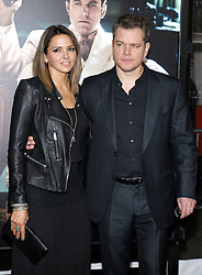 Matt Damon and Luciana Barroso at the Los Angeles premiere of 'Live By Night' held at the TCL Chinese Theatre in Hollywood, USA on January 9, 2017.