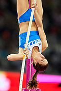 Great Britain, London - 2017 August 06: Ekaterini Stefanidi from Greece competes in women's pole vault final  during IAAF World Championships London 2017 Day 3 at London Stadium on August 06, 2017 in London, Great Britain.<br /> <br /> Mandatory credit:<br /> Photo by © Adam Nurkiewicz<br /> <br /> Adam Nurkiewicz declares that he has no rights to the image of people at the photographs of his authorship.<br /> <br /> Picture also available in RAW (NEF) or TIFF format on special request.<br /> <br /> Any editorial, commercial or promotional use requires written permission from the author of image.
