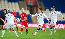 CARDIFF, WALES - Thursday, September 26, 2013: Wales' Lauren Price in action against Belarus during the FIFA Women's World Cup Canada 2015 Qualifying Group 6 match at the Cardiff City Stadium. (Pic by David Rawcliffe/Propaganda)