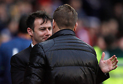 Nottingham Forest Manager Dougie Freedman (L) and Milton Keynes Dons Manager Karl Robinson - Mandatory byline: Jack Phillips / JMP - 07966386802 - 19/12/2015 - FOOTBALL - The City Ground - Nottingham, Nottinghamshire - Nottingham Forest v MK Dons - Sky Bet Championship