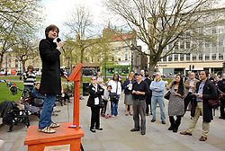 © Licensed to London News Pictures. 13/04/2012. Bristol, UK. Dave Gould takes part in an open air debate whether Bristol should have an elected mayor at a speakers corner debate at College Green in front of Bristol's Council House..Photo credit : Simon Chapman/LNP