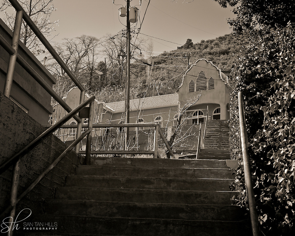 A stairwell connecting Main Street and Clark, Jerome, AZ