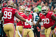 San Francisco 49ers defensive back K'Waun Williams (24) celebrates a tackle against the Jacksonville Jaguars at Levi's Stadium in Santa Clara, Calif., on December 24, 2017. (Stan Olszewski/Special to S.F. Examiner)