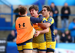 Sam Lewis of Worcester Warriors celebrates scoring his try with team mates - Mandatory by-line: Dougie Allward/JMP - 04/02/2017 - RUGBY - BT Sport Cardiff Arms Park - Cardiff, Wales - Cardiff Blues v Worcester Warriors - Anglo Welsh Cup