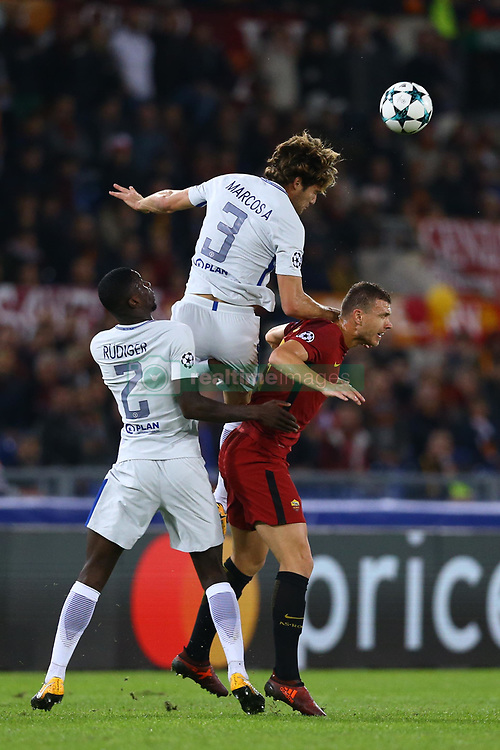 October 31, 2017 - Rome, Italy - Antonio Rudiger and Marcos Alonso of Chelsea and Edin Dzeko of Roma   during the UEFA Champions League football match AS Roma vs Chelsea on October 31, 2017 at the Olympic Stadium in Rome. (Credit Image: © Matteo Ciambelli/NurPhoto via ZUMA Press)
