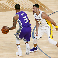 08 October 2017: Los Angeles Lakers forward Larry Nance Jr. (7) defends on Sacramento Kings guard George Hill (3) during the LA Lakers 75-69 victory over the Sacramento Kings, at the T-Mobile Arena, Las Vegas, Nevada, USA.