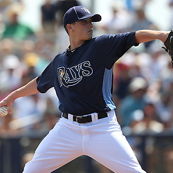 March 15, 2011; Port Charlotte, FL, USA; Tampa Bay Rays starting pitcher Jeremy Hellickson (58) during a spring training exhibition game against the Florida Marlins at Charlotte Sports Park.   Mandatory Credit: Derick E. Hingle