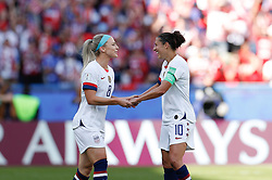 2019?6?17?.   ???????????——F??????????.    6?16????????????????????????????.   ?????????????????2019??????????F??????????3?0??????.   ?????????..SP-FRANCE-PARIS-FIFA WOMEN'S WORLD CUP-GROUP F-USA-CHILE.(1906017) -- PARIS, June 17, 2019  Carli Lloyd (R) of the United States and her teammateJulie Ertz celebrate the first goal in the Group F match between the United States and Chile at the 2019 FIFA Women's World Cup in Parc des Princes in Paris, France, June 16, 2019.  The United States won 3-0. (Credit Image: © Xinhua via ZUMA Wire)