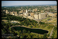 View of midtown St. Louis; Forest Park's Jefferson Lake foregrnd; St Louis Medical Center behind. Missouri