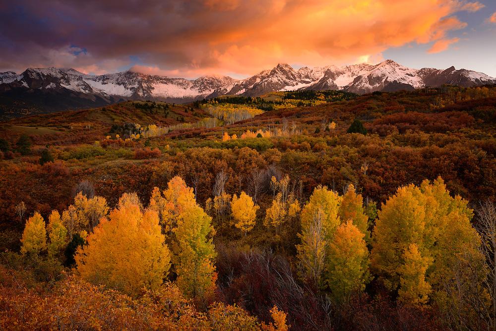 An autumn sunset in the San Juan Mountains of Colorado.