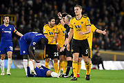 Wolverhampton Wanderers defender Ryan Bennett (5) commits a foul during the Premier League match between Wolverhampton Wanderers and Chelsea at Molineux, Wolverhampton, England on 5 December 2018.