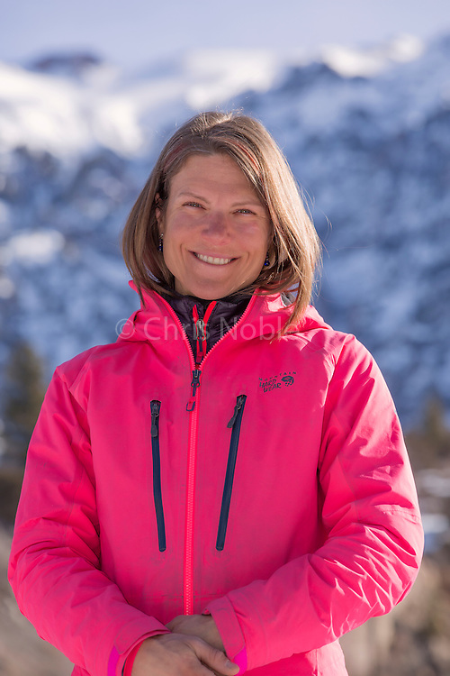 A portrait of mountain guide and national champion mixed ice climber Dawn Glanc at the Ouray Ice Park, Ouray Colorado