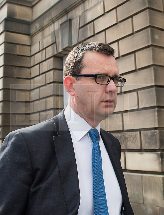 © Licensed to London News Pictures. 25/05/2015. Former News of the World editor Andy Coulson leaving Edinburgh's High Court on 25 May 2015 . Today the trial has heard of his knowledge of hacked voicemail messages that were the source of a story about former Home Secretary David Blunkett having an affair. Mr Coulson is accused of lying under oath in the 2010 perjury trial of former MSP Tommy Sheridan.<br /> <br /> <br /> Photo credit should read Max Bryan/LNP