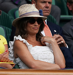 &copy; Licensed to London News Pictures.05/07/18.<br /> London, UK: The Wimbledon Lawn Tennis Championships at All England Lawn Tennis and Croquet Club<br /> pippa middleton watches the tennis from  in the royal box