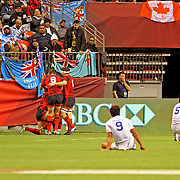 Manu Samoa players fall dejectedly after leading 14-0 in the first half, then failing to score in the second half, losing 21-14 to Wales in the Canada 7's, BC Place, Vancouver, Canada.  3/11/17.  Photo by Barry Markowitz