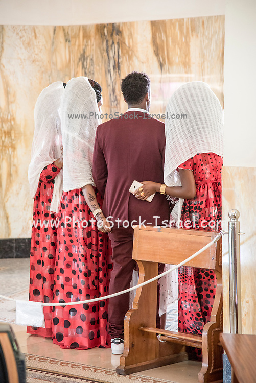 Eritrean wedding ceremony at the Church of the Beatitudes on the northern coast of the Sea of Galilee in Israel. The traditional spot where Jesus gave the Sermon on the Mount. Galilee, Israel