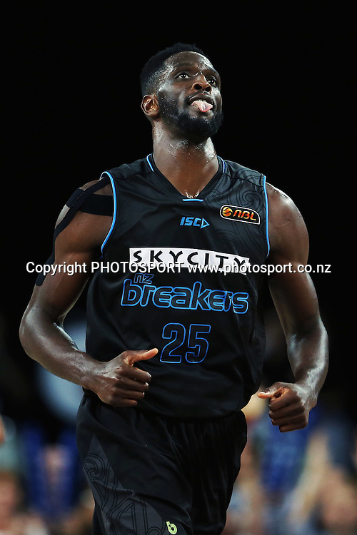 Ekene Ibekwe of the Breakers reacts after scoring another basket to take the lead late in the game. 2014/15 ANBL, SkyCity Breakers vs Adelaide 36ers, Vector Arena, Auckland, New Zealand. Thursday 12 February 2015. Photo: Anthony Au-Yeung / www.photosport.co.nz