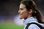 Great Britain, London - 2017 August 07: Anna Jagaciak - Michalska (AZS Poznan) of Poland looks forward after women&rsquo;s triple jump final during IAAF World Championships London 2017 Day 4 at London Stadium on August 07, 2017 in London, Great Britain.<br /> <br /> Mandatory credit:<br /> Photo by &copy; Adam Nurkiewicz<br /> <br /> Adam Nurkiewicz declares that he has no rights to the image of people at the photographs of his authorship.<br /> <br /> Picture also available in RAW (NEF) or TIFF format on special request.<br /> <br /> Any editorial, commercial or promotional use requires written permission from the author of image.
