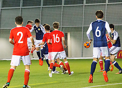 Scotland's Jamie Semple (9) scoring their first goal. half time : Scotland 2 v 0 Wales, Under 16 Victory Shield, Oriam 1/11/2016.