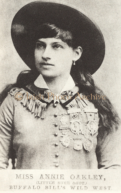 Phoebe Ann Mosey (1860-1926) known as Annie Oakley, Little Sure Shot, American sharpshooter who joined Buffalo Bill's Wild West Show in 1885.