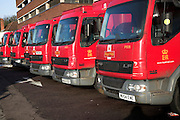 EDITOR - PLEASE NOTE PREVIOUSLY SUBMITTED FOR STOCK TO GARY DUNN BUT NOT YET PROCESSES. BEING RE-SUMBITED FOR NEWS VALUE. Royal Mail delivery lorries parked in a row. The possible privatisation of Royal Mail proved a controversial topic and in December 2008 around 50 Labour MPs threatened to vote against plans. The resignation of ministerial aide Jim McGovern was made in response to the announcement  about possible partial privatisation made by Lord Mandelson on 16 December 2008.