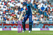 England ODI batsman Joe Root nicks the delivery from Australia ODI bowler Billy Stanlake and is out for one run  during the 5th One Day International match between England and Australia at Old Trafford, Manchester, England on 24 June 2018. Picture by Simon Davies.