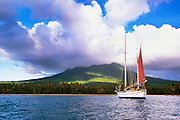356207-1000 ~ Copyright:  George H. H. Huey ~ Sailboat at anchor off of Pinney's Beach.  Island of  Nevis.   Caribbean.  Country name:  St. Kitts and Nevis.