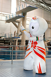 Wenlock London 2012 Mascot beside the diving pool at Ponds Forge Sheffield..12 April 2011.Images © Paul David Drabble
