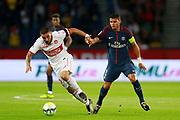Paris Saint-Germain's Brazilian defender Thiago Silva vies with Toulouse Football Club's French forward Andy Delort during the French championship L1 football match between Paris Saint-Germain (PSG) and Toulouse, on August 20, 2017, at the Parc des Princes, in Paris, France - Photo Benjamin Cremel / ProSportsImages / DPPI