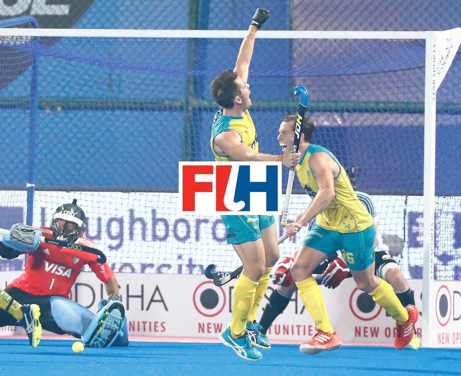 Odisha Men's Hockey World League Final Bhubaneswar 2017<br /> Match id:22<br /> Argentina v Australia<br /> Foto: Blake Govers (Aus) scored 1-2<br /> WORLDSPORTPICS COPYRIGHT KOEN SUYK