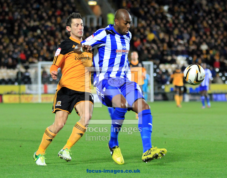 Picture by Richard Gould/Focus Images Ltd +447814 482222.12/01/2013.Robert Koren(C) of Hull City is blocked by Anthony Gardner of Sheffield Wednesday during the npower Championship match at the KC Stadium, Kingston upon Hull.
