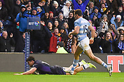 Sean Maitland scores try for Scotland during the Autumn Test match between Scotland and Argentina at Murrayfield, Edinburgh, Scotland on 24 November 2018.