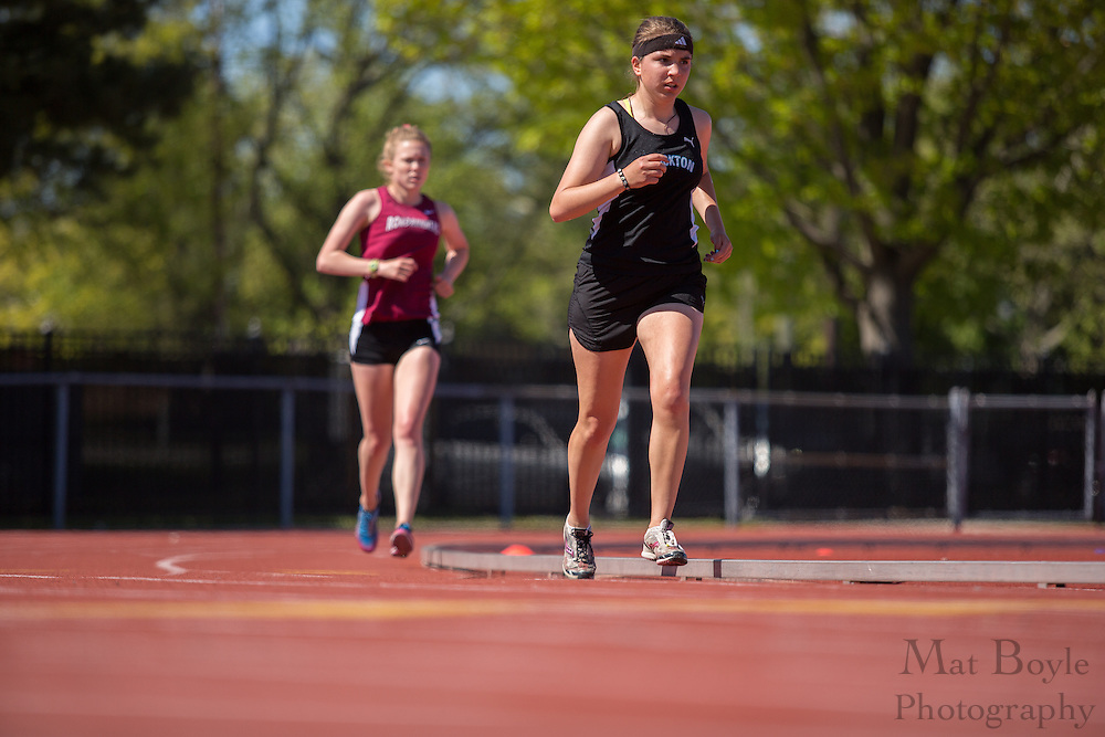 Richard Stockton College's Cara Cuiule competes in the women's 10000 meter at the NJAC Track and Field Championships at Richard Wacker Stadium on the campus of  Rowan University  in Glassboro, NJ on Saturday May 4, 2013. (photo / Mat Boyle)