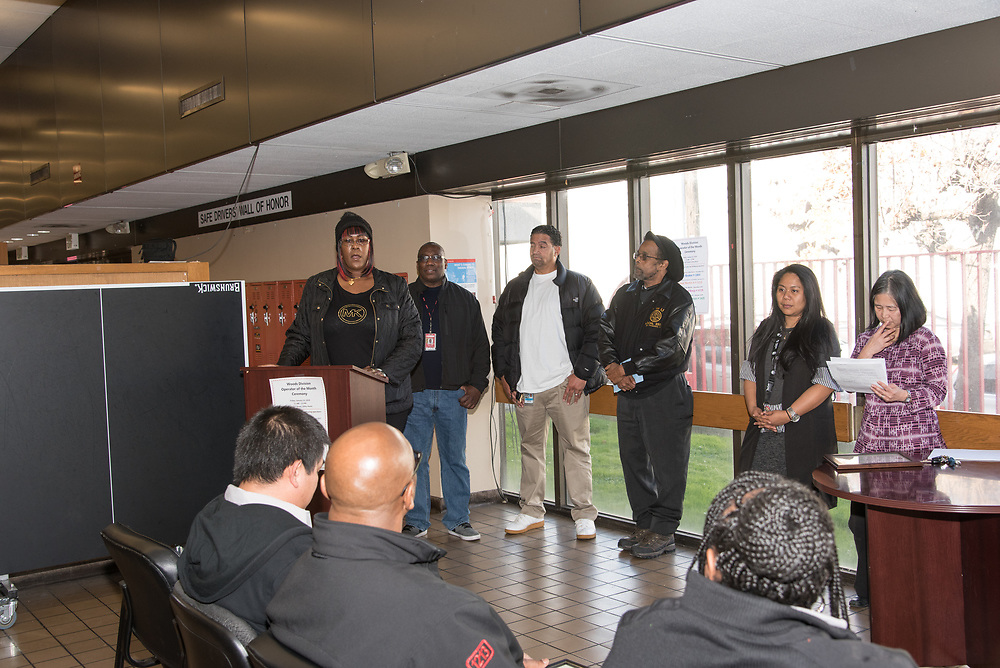 Peer Assistance Giving Certificates at Woods Division Systemwide Operator of the Month Ceremony | January 12, 2018