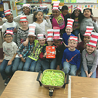 GREEN EGGS AND HAM<br /> (Courtesy Photo)<br /> Kindergarten and first grade teachers, along with students at Houston Lower Elementary celebrated Dr. Seuss's March 2 birthday. A variety of activities taught who Dr. Seuss was and how he began writing children's books. Students also cooked green eggs and ham, read many of Dr. Seuss's books and wrote an opinion piece on their favorite Dr. Seuss book and why they like that book.