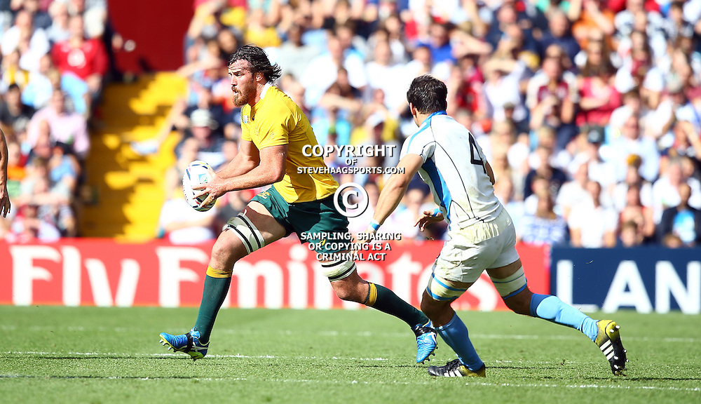 BIRMINGHAM, ENGLAND - SEPTEMBER 27: Kane Douglas of Australia during the Rugby World Cup 2015 Pool A match between Australia and Uruguay at Villa Park on September 27, 2015 in Birmingham, England. (Photo by Steve Haag/Gallo Images)