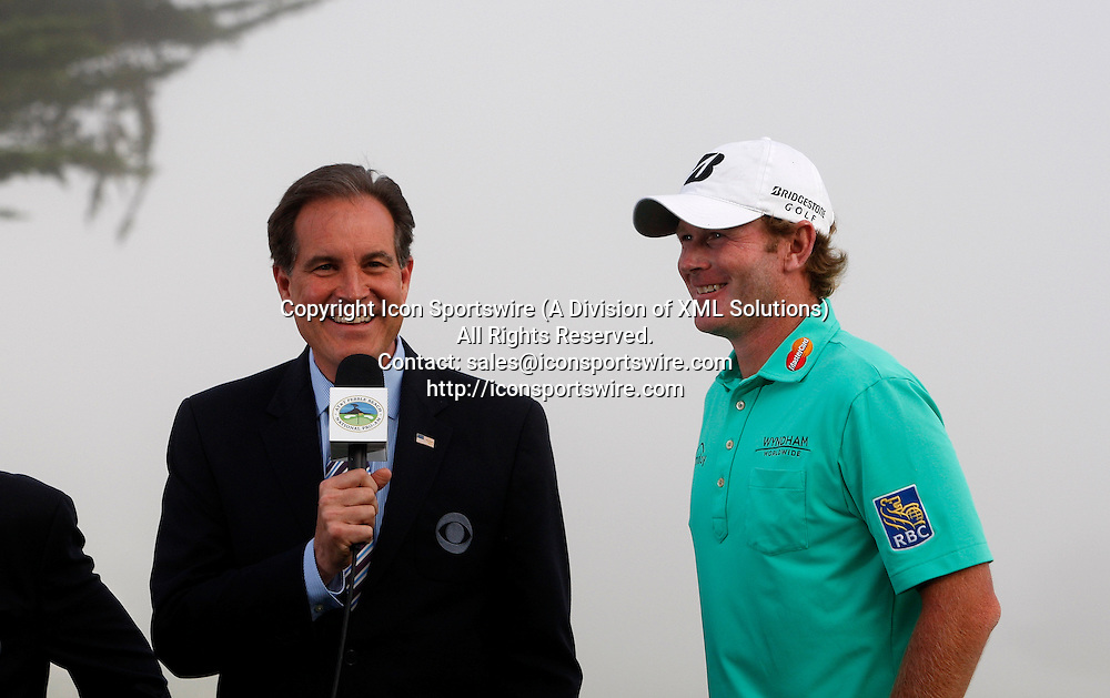 Feb 15 2015: Brandt Snedeker gets interviewed by Jim Nance after winning the final round of the AT&T Pebble Beach National Pro-Am in Pebble Beach, CA.