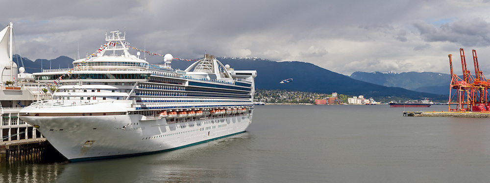 The Princess Cruises ship Golden Princess docked at Canada Place in Vancouver, British Columbia, Canada