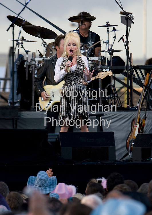 22/6/2008.Dolly Parton pictured on stage at Nowlan Park in Kilkenny..Picture Dylan Vaughan.