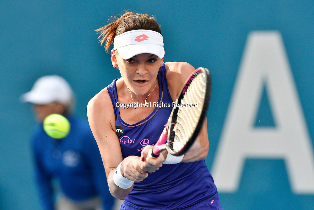 13.01.17 Sydney Olympic Park, Sydney, Australia. Agnieszka Radwanska (POL) in action against  Johanna Konta (GBR) during their womens final match on day 6 at the Apia International Sydney. Konta won 6-4,6-2.