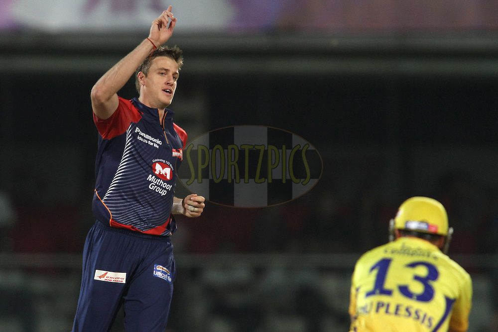Morne Morkel of the Delhi Daredevils celebrates Francois du Plessis of the Chennai Super Kings wicket during match 11 of the the Indian Premier League ( IPL) 2012  between The Delhi Daredevils and the Chennai Superkings held at the Feroz Shah Kotla, Delhi on the 10th April 2012..Photo by Shaun Roy/IPL/SPORTZPICS