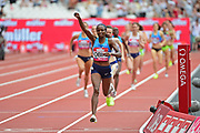 Hellen Obiri (KEN) wins the 1 mile Women during the Muller Anniversary Games at the London Stadium, London, England on 9 July 2017. Photo by Jon Bromley.