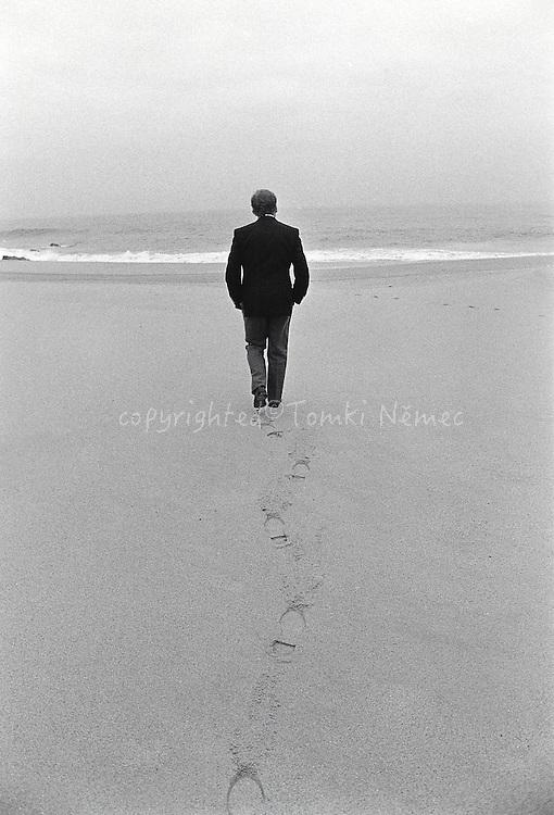 Vaclav Havel walking on the beach near Cabo da Roca, Sintra, Portugal, 1990