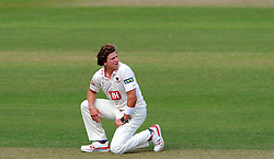 Dejection for Sussex's Matthew Hobden. - Photo mandatory by-line: Harry Trump/JMP - Mobile: 07966 386802 - 06/07/15 - SPORT - CRICKET - LVCC - County Championship Division One - Somerset v Sussex- Day Two - The County Ground, Taunton, England.