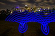 pixelstick, pixel stick, Houston, skyline, downtown, Eleanor Tinsley Park, Buffalo Bayou, urban space, urban park,Texas, urban greenspace