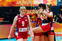 20-10-2018 JPN: Final World Championship Volleyball Women day 21, Yokohama<br /> Serbia - Italy 3-2 / Brankica Mihajlovic #9 of Serbia, Silvija Popovic #17 of Serbia